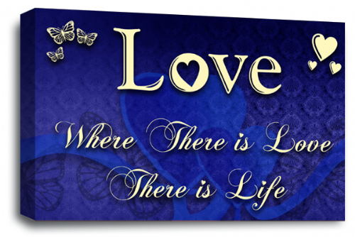 Love Quote Wall Art Picture Blue Cream Home Print